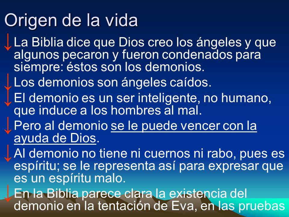Origen de la vida La Biblia dice que Dios creo los ángeles y que algunos pecaron y fueron condenados para siempre: éstos son los demonios. Los demonio