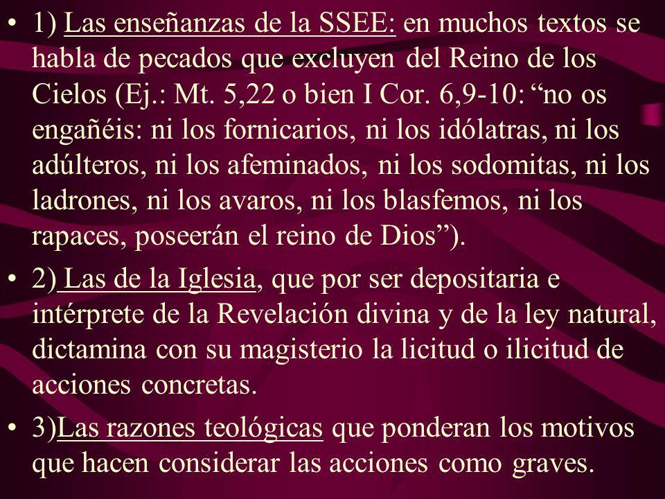 1) Las enseñanzas de la SSEE: en muchos textos se habla de pecados que excluyen del Reino de los Cielos (Ej.: Mt. 5,22 o bien I Cor. 6,9-10: no os eng