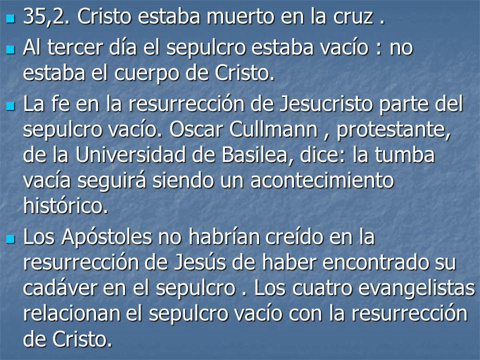 35,2. Cristo estaba muerto en la cruz. 35,2. Cristo estaba muerto en la cruz. Al tercer día el sepulcro estaba vacío : no estaba el cuerpo de Cristo.