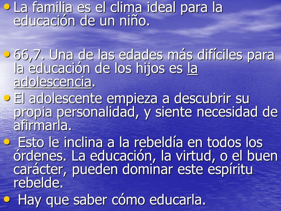 La familia es el clima ideal para la educación de un niño. La familia es el clima ideal para la educación de un niño. 66,7. Una de las edades más difí