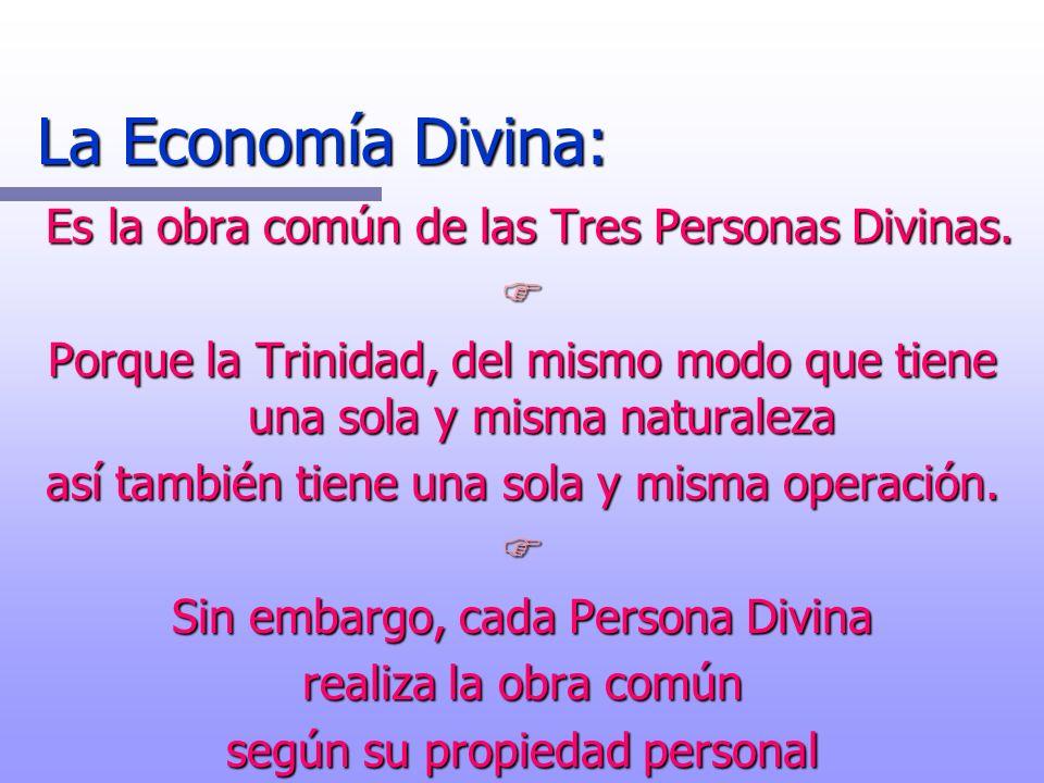 La Economía Divina: Es la obra común de las Tres Personas Divinas. Es la obra común de las Tres Personas Divinas. F Porque la Trinidad, del mismo modo