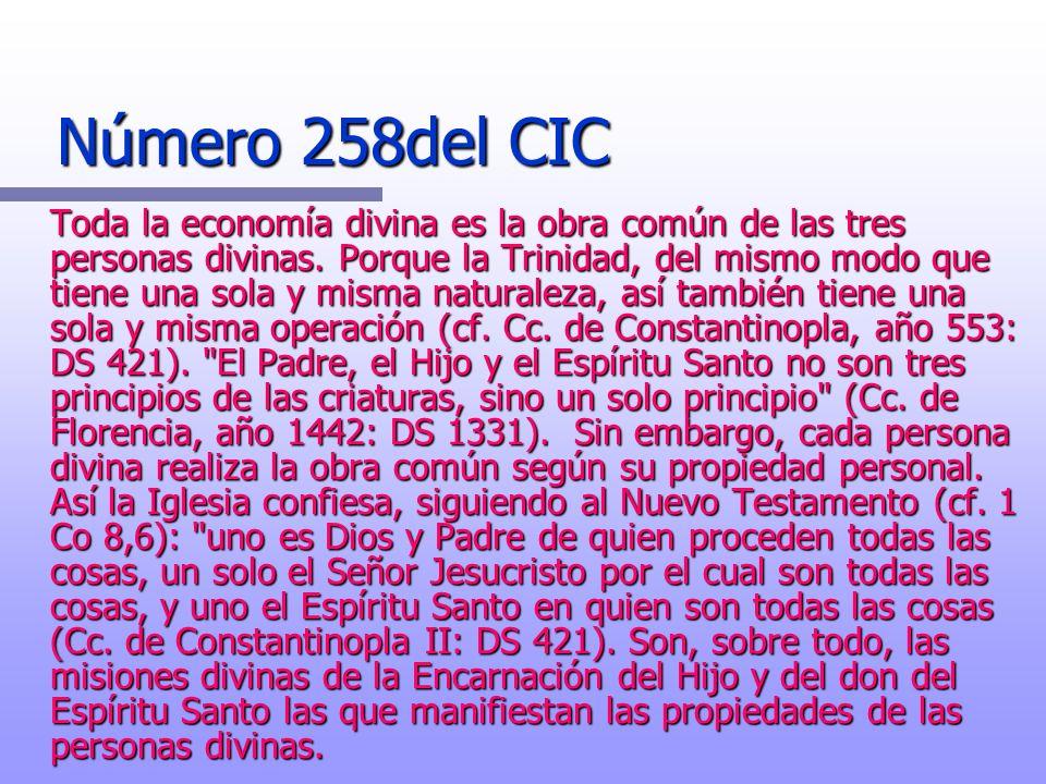 Número 258del CIC Número 258del CIC Toda la economía divina es la obra común de las tres personas divinas. Porque la Trinidad, del mismo modo que tien