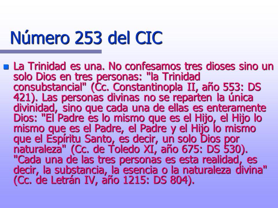 Número 253 del CIC n La Trinidad es una. No confesamos tres dioses sino un solo Dios en tres personas: