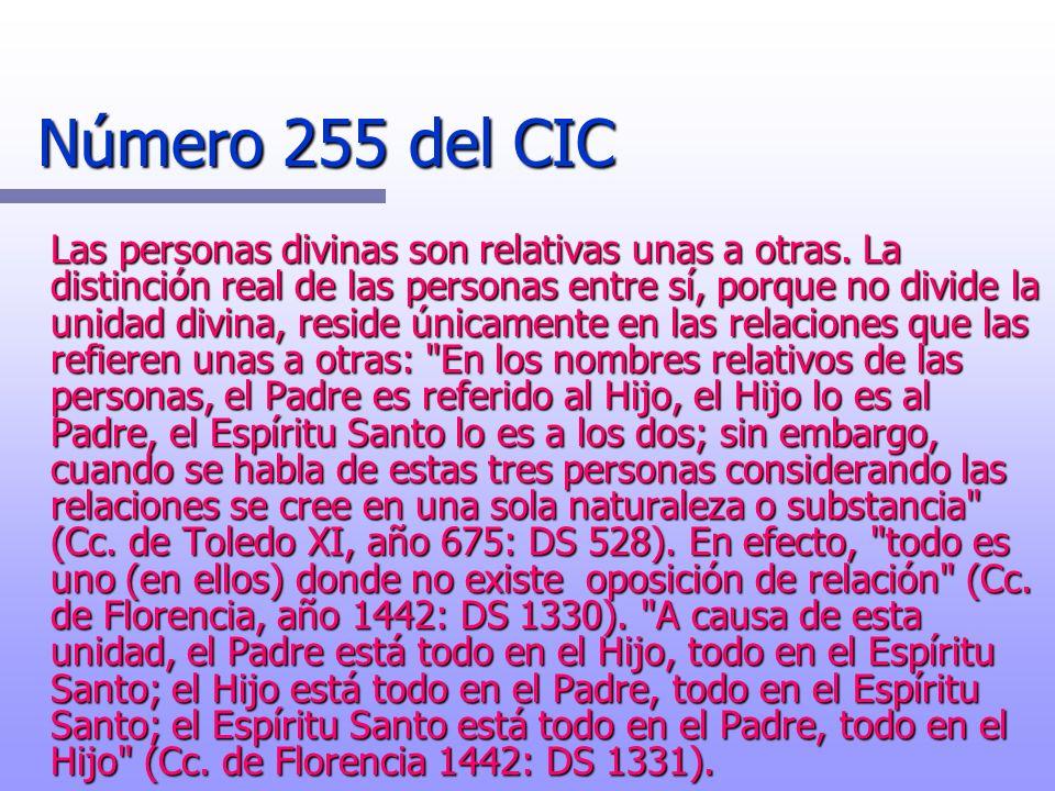 Número 255 del CIC Las personas divinas son relativas unas a otras. La distinción real de las personas entre sí, porque no divide la unidad divina, re