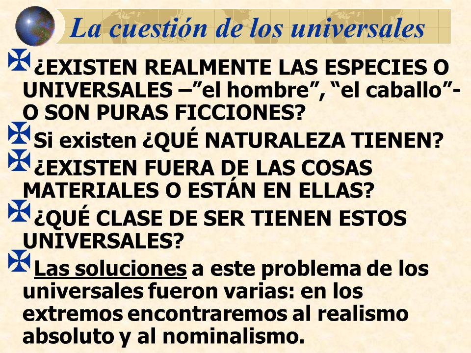 La cuestión de los universales ¿EXISTEN REALMENTE LAS ESPECIES O UNIVERSALES –el hombre, el caballo- O SON PURAS FICCIONES? Si existen ¿QUÉ NATURALEZA