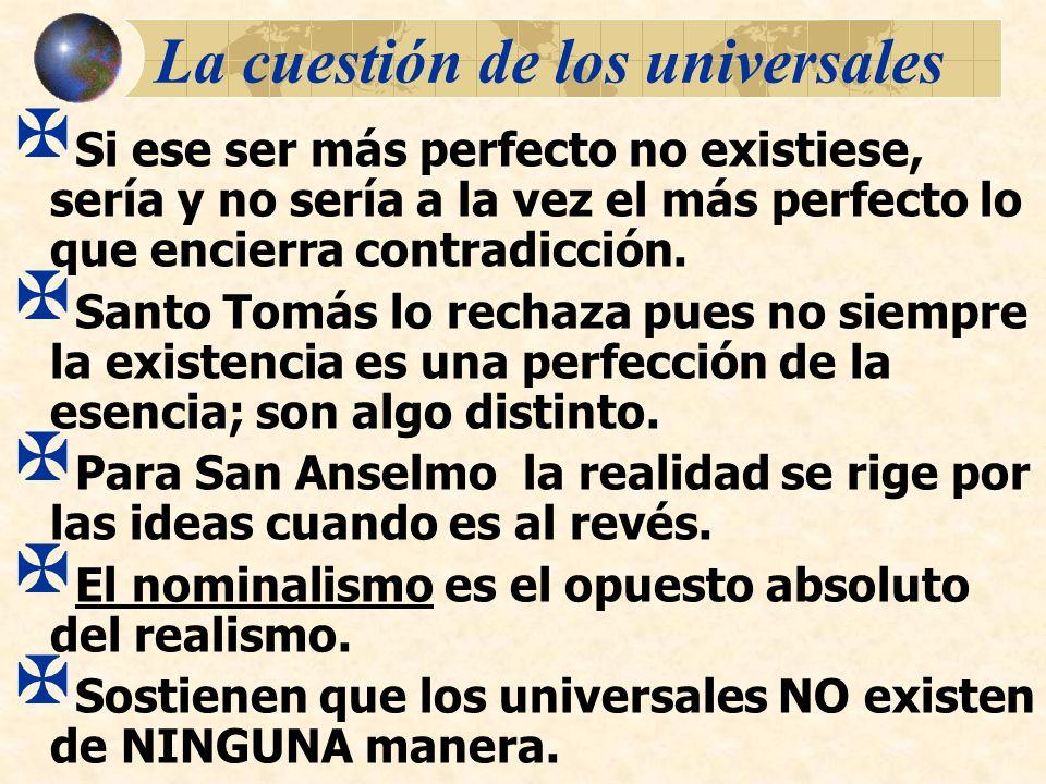 La cuestión de los universales Si ese ser más perfecto no existiese, sería y no sería a la vez el más perfecto lo que encierra contradicción. Santo To