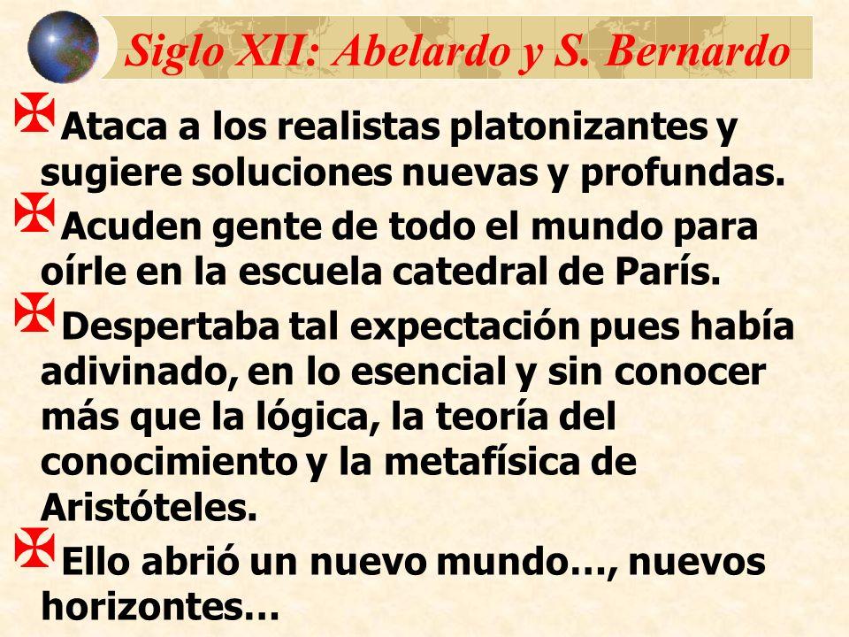 Siglo XII: Abelardo y S. Bernardo Ataca a los realistas platonizantes y sugiere soluciones nuevas y profundas. Acuden gente de todo el mundo para oírl