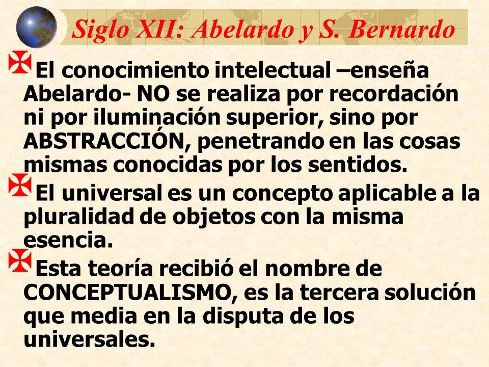 Siglo XII: Abelardo y S. Bernardo El conocimiento intelectual –enseña Abelardo- NO se realiza por recordación ni por iluminación superior, sino por AB