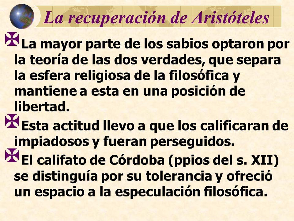La recuperación de Aristóteles La mayor parte de los sabios optaron por la teoría de las dos verdades, que separa la esfera religiosa de la filosófica