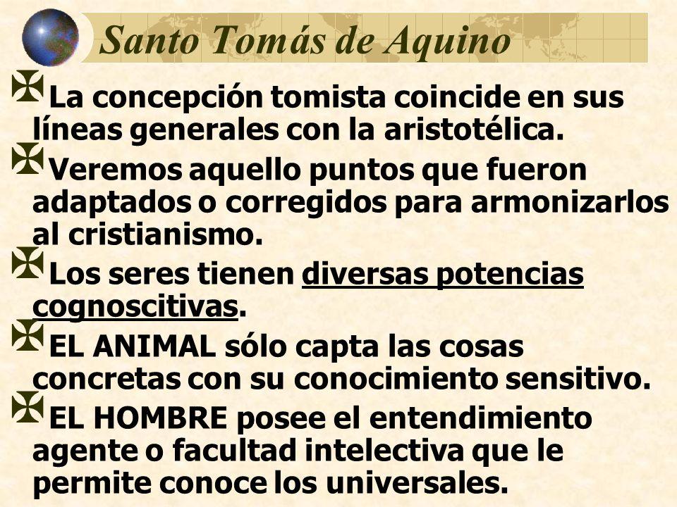 Santo Tomás de Aquino La concepción tomista coincide en sus líneas generales con la aristotélica. Veremos aquello puntos que fueron adaptados o correg