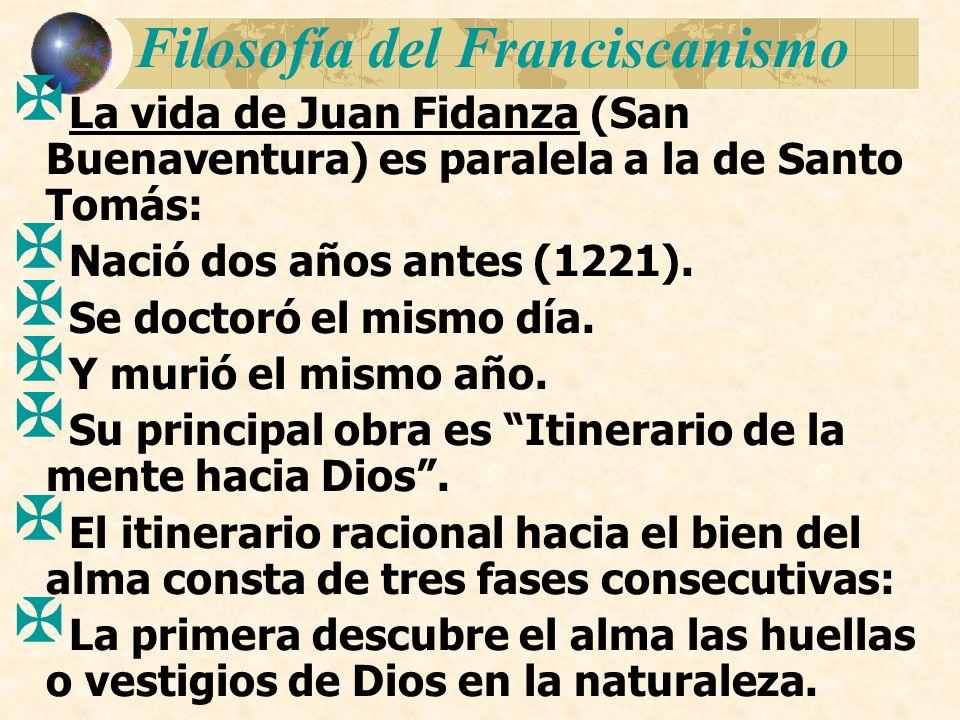 Filosofía del Franciscanismo La vida de Juan Fidanza (San Buenaventura) es paralela a la de Santo Tomás: Nació dos años antes (1221). Se doctoró el mi
