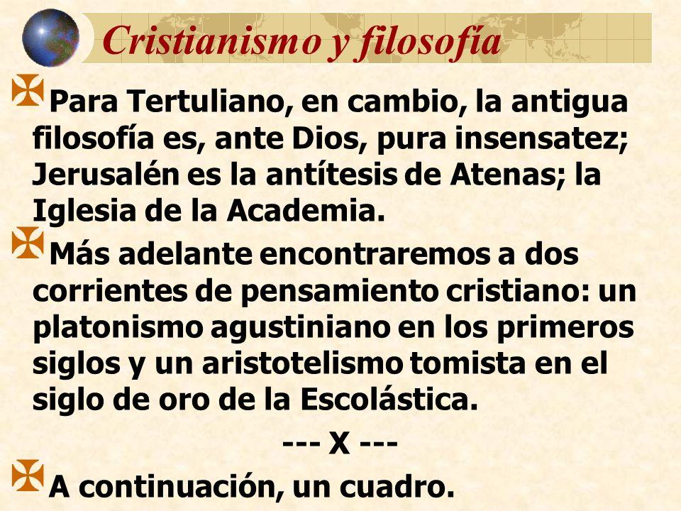 Cristianismo y filosofía Para Tertuliano, en cambio, la antigua filosofía es, ante Dios, pura insensatez; Jerusalén es la antítesis de Atenas; la Igle