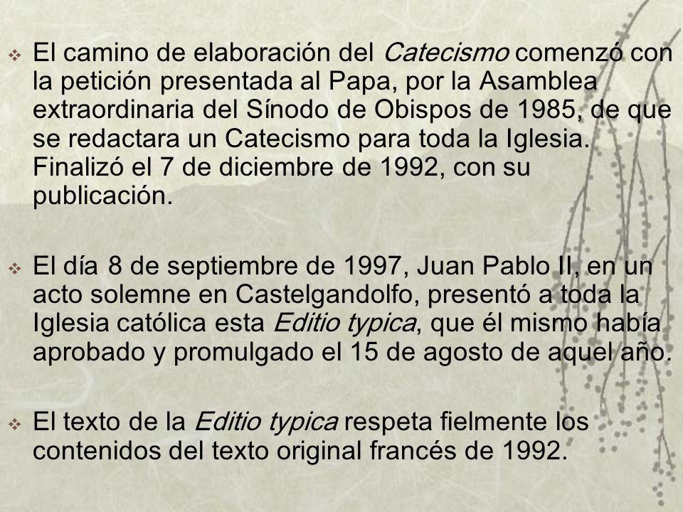 El camino de elaboración del Catecismo comenzó con la petición presentada al Papa, por la Asamblea extraordinaria del Sínodo de Obispos de 1985, de que se redactara un Catecismo para toda la Iglesia.
