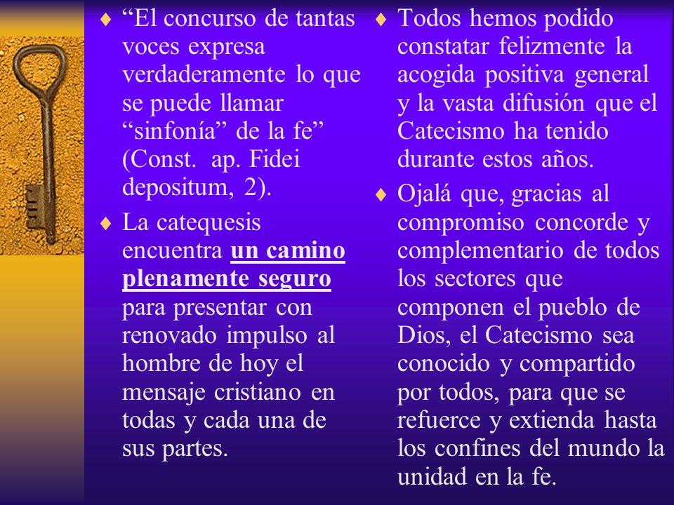 El concurso de tantas voces expresa verdaderamente lo que se puede llamar sinfonía de la fe (Const. ap. Fidei depositum, 2). La catequesis encuentra u