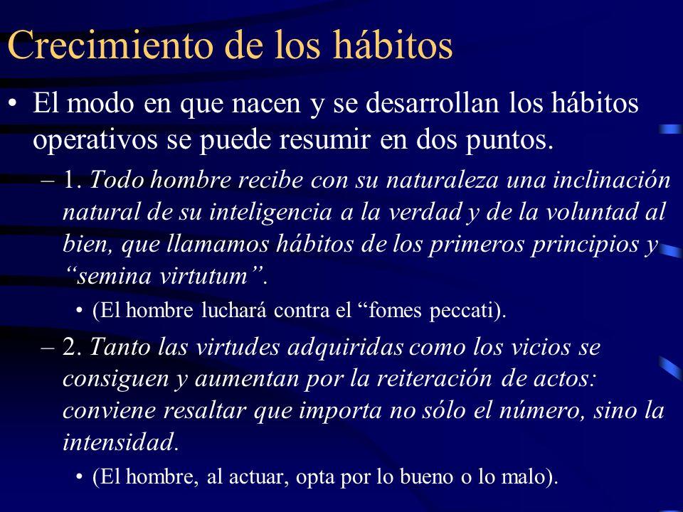 Disminución de los hábitos Los hábitos naturales se debilitan por los actos que los contrarían.