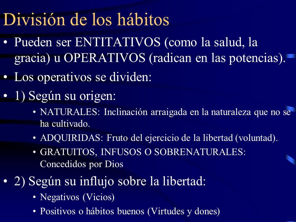 Sujeto de los hábitos El sujeto de los hábitos es la persona, a través de las potencias por las que obra libremente, es decir la inteligencia y la voluntad, con el concurso de las pasiones.