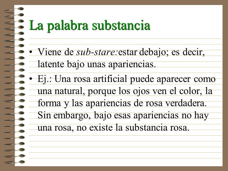La palabra substancia Viene de sub-stare:estar debajo; es decir, latente bajo unas apariencias. Ej.: Una rosa artificial puede aparecer como una natur