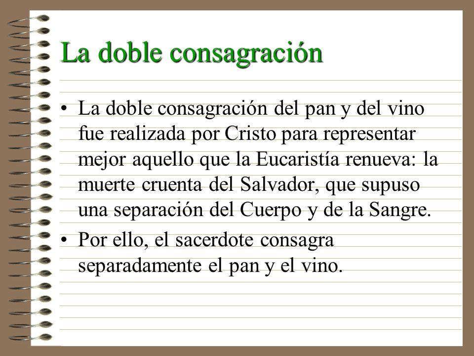 La doble consagración La doble consagración del pan y del vino fue realizada por Cristo para representar mejor aquello que la Eucaristía renueva: la m