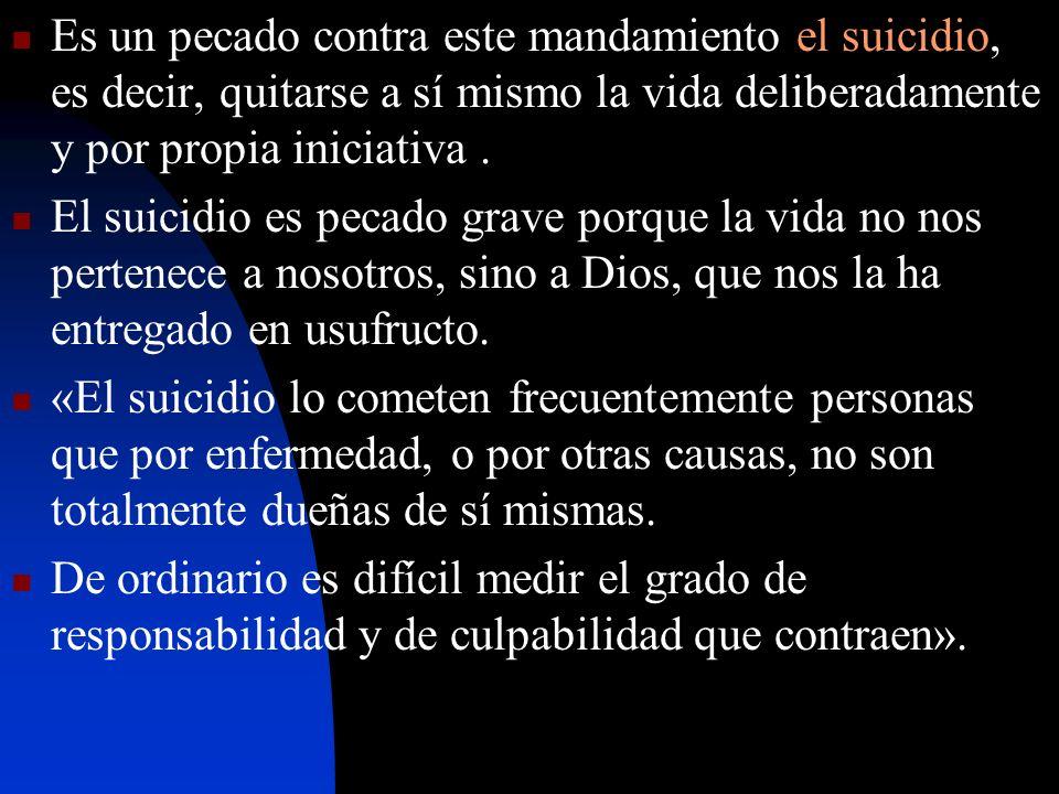 Es un pecado contra este mandamiento el suicidio, es decir, quitarse a sí mismo la vida deliberadamente y por propia iniciativa. El suicidio es pecado