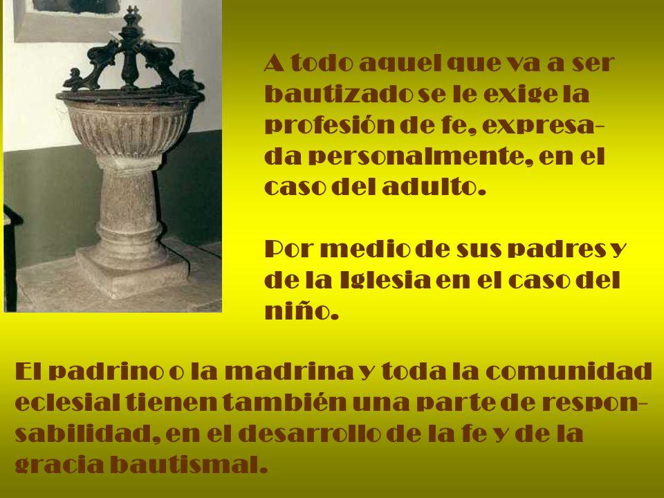 A todo aquel que va a ser bautizado se le exige la profesión de fe, expresa- da personalmente, en el caso del adulto. Por medio de sus padres y de la