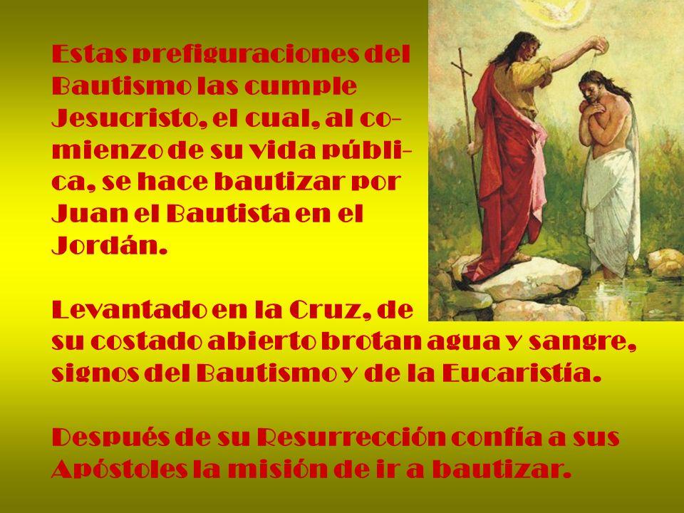 Estas prefiguraciones del Bautismo las cumple Jesucristo, el cual, al co- mienzo de su vida públi- ca, se hace bautizar por Juan el Bautista en el Jor