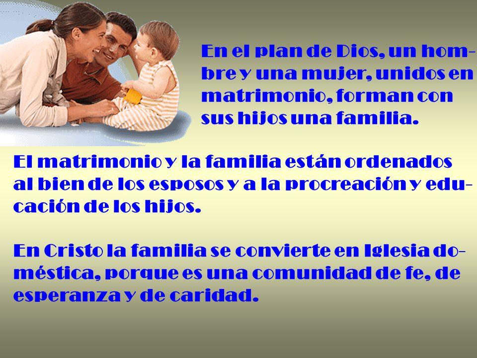 En el plan de Dios, un hom- bre y una mujer, unidos en matrimonio, forman con sus hijos una familia. El matrimonio y la familia están ordenados al bie