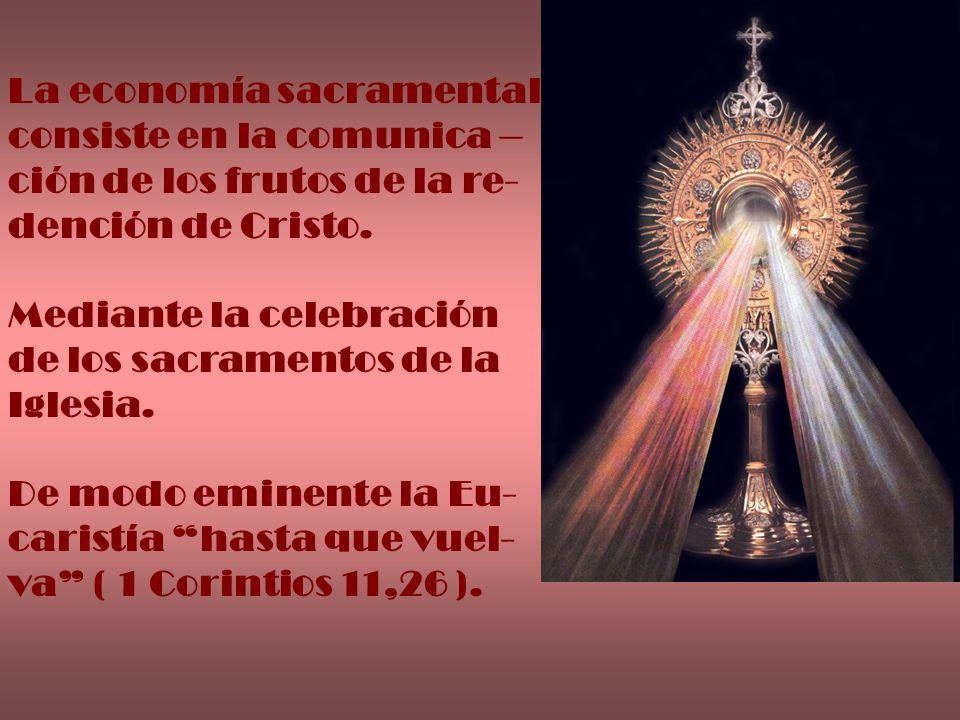 La economía sacramental consiste en la comunica – ción de los frutos de la re- dención de Cristo. Mediante la celebración de los sacramentos de la Igl