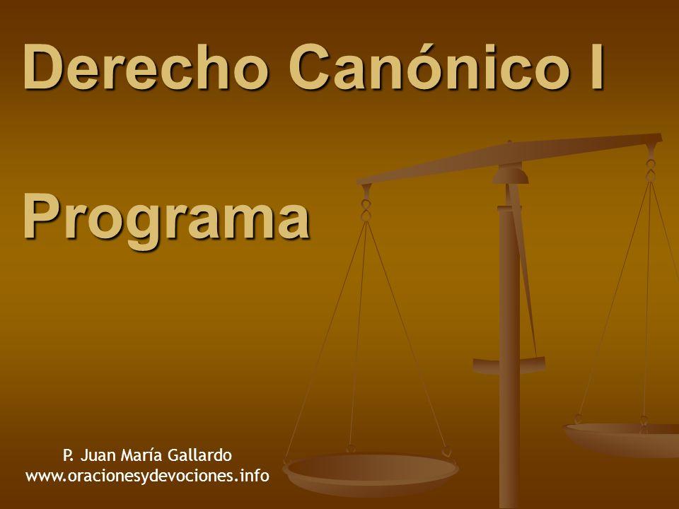 Derecho Canónico I Programa P. Juan María Gallardo www.oracionesydevociones.info