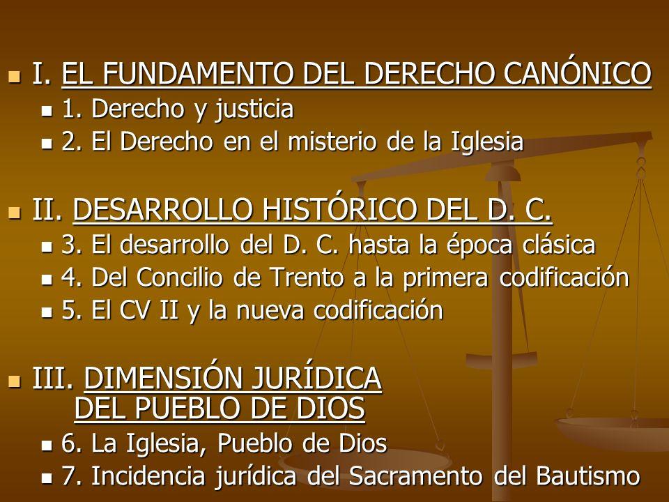 I. EL FUNDAMENTO DEL DERECHO CANÓNICO I. EL FUNDAMENTO DEL DERECHO CANÓNICO 1. Derecho y justicia 1. Derecho y justicia 2. El Derecho en el misterio d