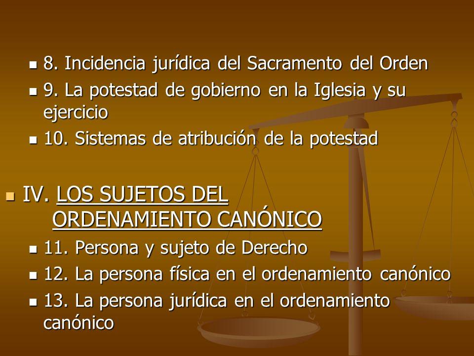 8. Incidencia jurídica del Sacramento del Orden 8. Incidencia jurídica del Sacramento del Orden 9. La potestad de gobierno en la Iglesia y su ejercici