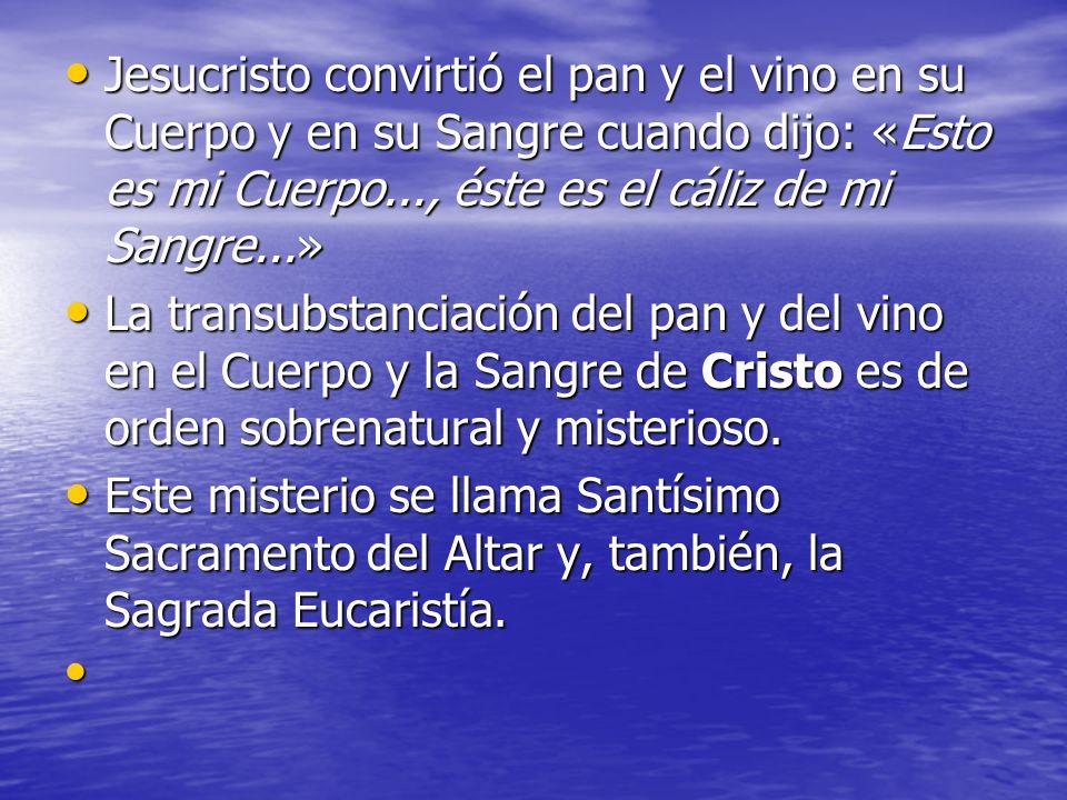 Jesucristo convirtió el pan y el vino en su Cuerpo y en su Sangre cuando dijo: «Esto es mi Cuerpo..., éste es el cáliz de mi Sangre...» Jesucristo con
