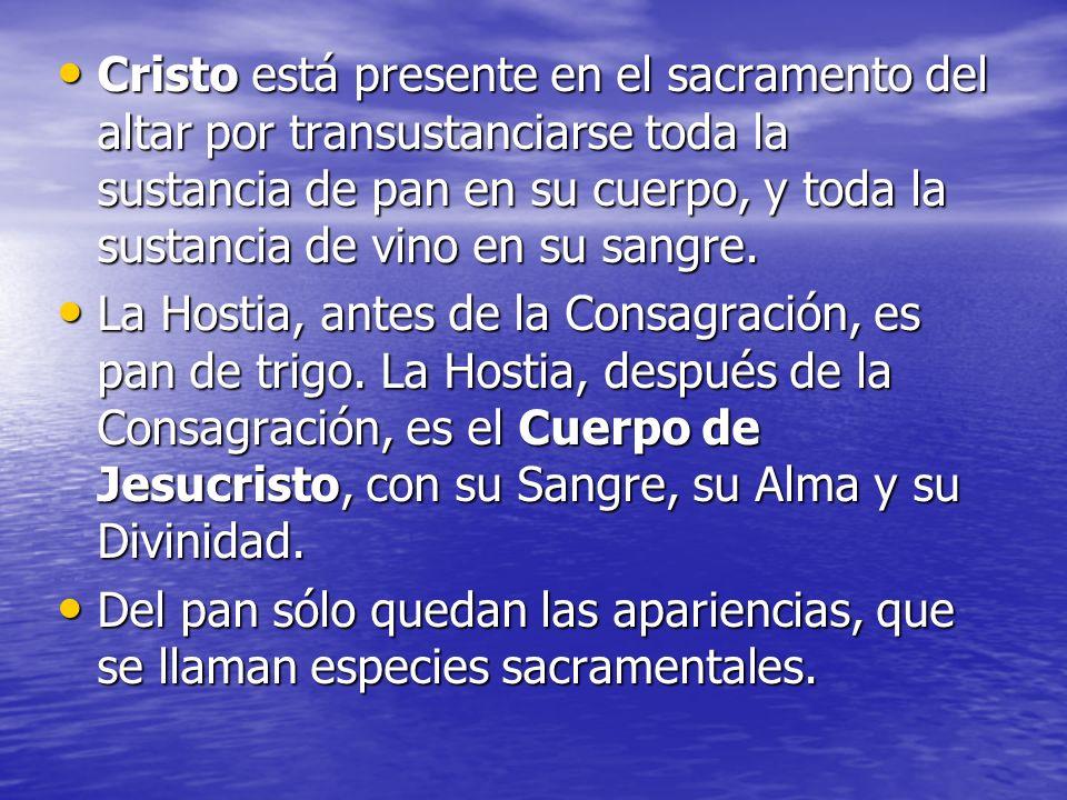 Cristo está presente en el sacramento del altar por transustanciarse toda la sustancia de pan en su cuerpo, y toda la sustancia de vino en su sangre.