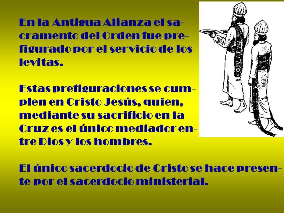 En la Antigua Alianza el sa- cramento del Orden fue pre- figurado por el servicio de los levitas. Estas prefiguraciones se cum- plen en Cristo Jesús,
