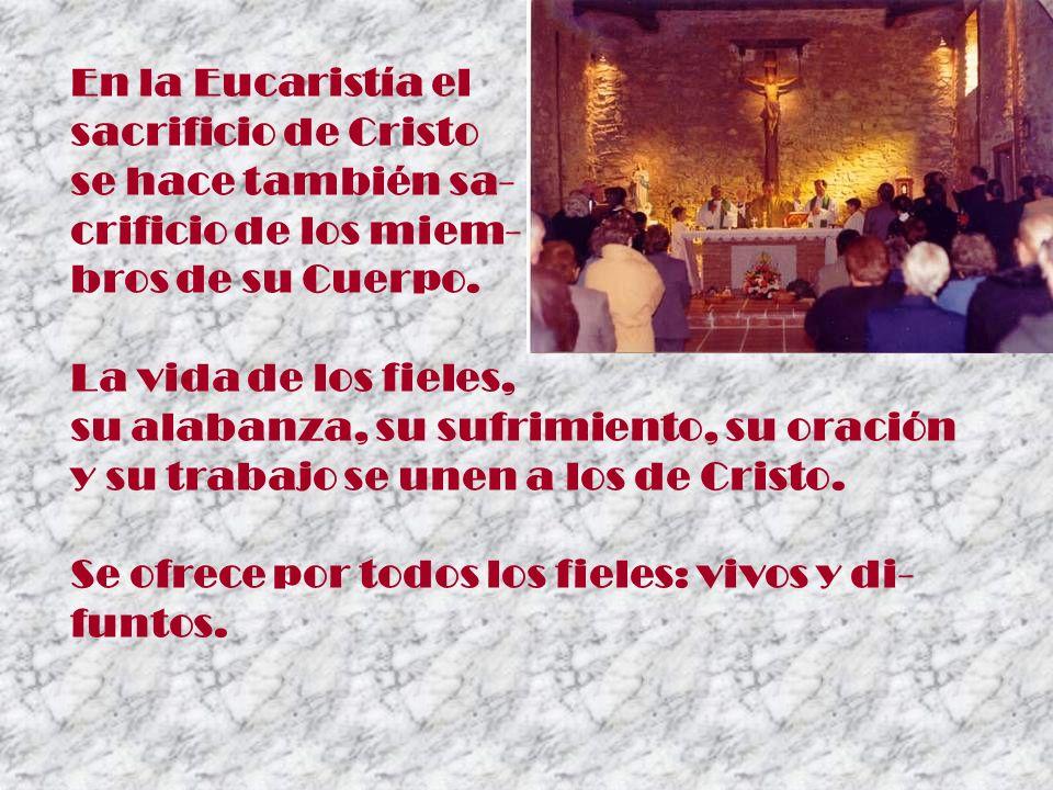En la Eucaristía el sacrificio de Cristo se hace también sa- crificio de los miem- bros de su Cuerpo. La vida de los fieles, su alabanza, su sufrimien