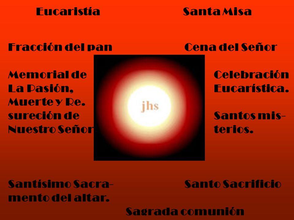 EucaristíaSanta Misa Fracción del panCena del Señor Memorial deCelebración La Pasión,Eucarística. Muerte y Re. sureción deSantos mis- Nuestro Señorter
