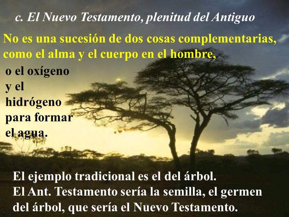 c. El Nuevo Testamento, plenitud del Antiguo No es una sucesión de dos cosas complementarias, como el alma y el cuerpo en el hombre, o el oxígeno y el