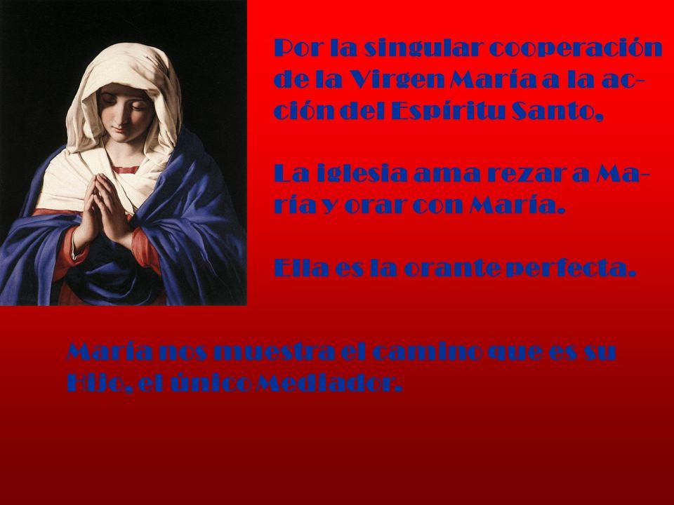Por la singular cooperación de la Virgen María a la ac- ción del Espíritu Santo, La iglesia ama rezar a Ma- ría y orar con María. Ella es la orante pe
