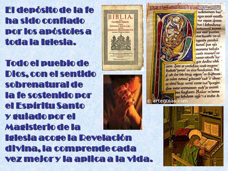 El depósito de la fe ha sido confiado por los apóstoles a toda la Iglesia. Todo el pueblo de Dios, con el sentido sobrenatural de la fe sostenido por