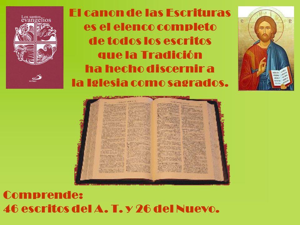 El canon de las Escrituras es el elenco completo de todos los escritos que la Tradición ha hecho discernir a la Iglesia como sagrados. Comprende: 46 e