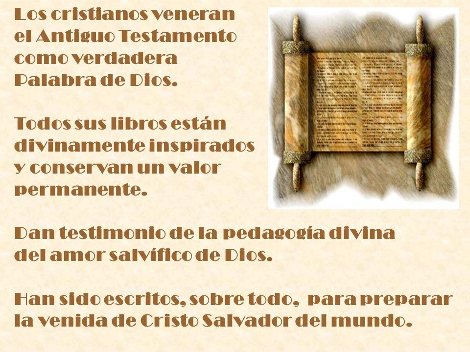 Los cristianos veneran el Antiguo Testamento como verdadera Palabra de Dios. Todos sus libros están divinamente inspirados y conservan un valor perman