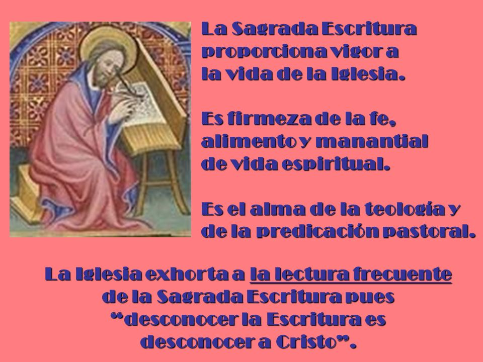 La Sagrada Escritura proporciona vigor a la vida de la Iglesia. Es firmeza de la fe, alimento y manantial de vida espiritual. Es el alma de la teologí