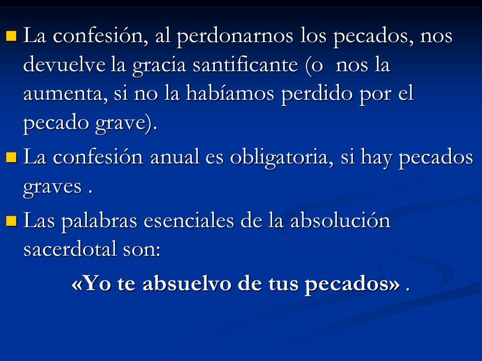 La confesión, al perdonarnos los pecados, nos devuelve la gracia santificante (o nos la aumenta, si no la habíamos perdido por el pecado grave). La co