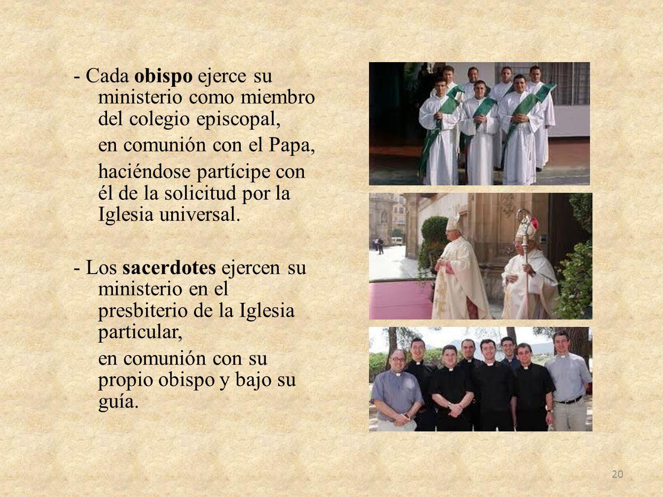 - Cada obispo ejerce su ministerio como miembro del colegio episcopal, en comunión con el Papa, haciéndose partícipe con él de la solicitud por la Igl