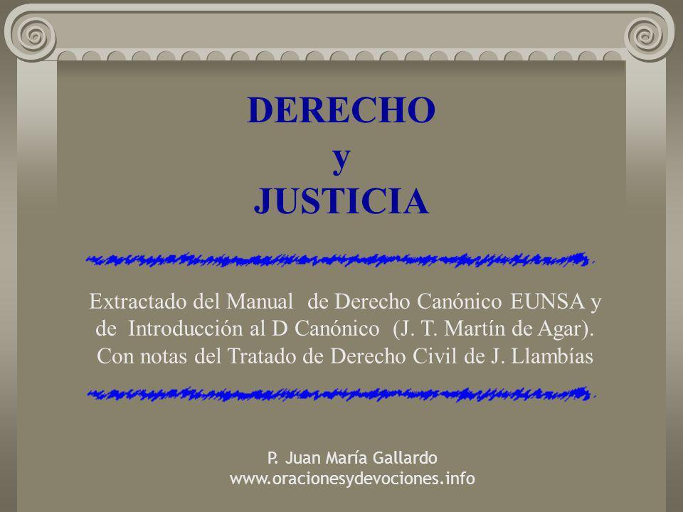 DERECHO y JUSTICIA Extractado del Manual de Derecho Canónico EUNSA y de Introducción al D Canónico (J. T. Martín de Agar). Con notas del Tratado de De