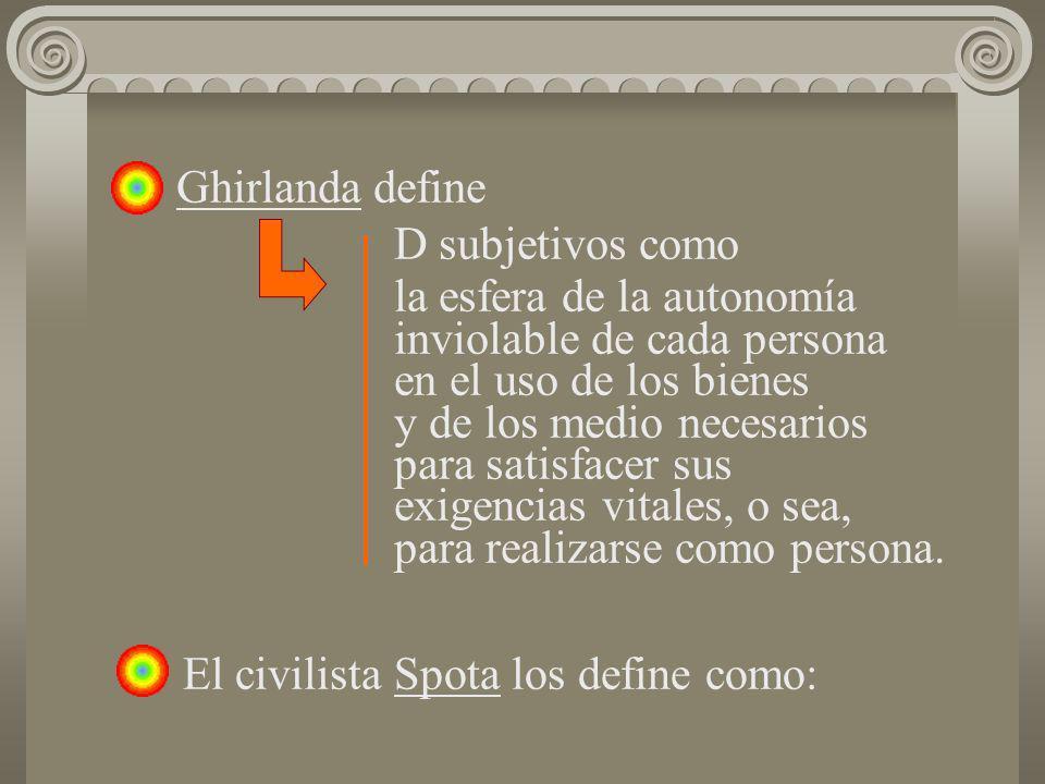 Ghirlanda define D subjetivos como la esfera de la autonomía inviolable de cada persona en el uso de los bienes y de los medio necesarios para satisfa