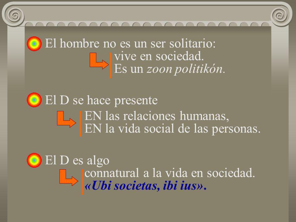 El hombre no es un ser solitario: vive en sociedad. Es un zoon politikón. El D se hace presente EN las relaciones humanas, EN la vida social de las pe
