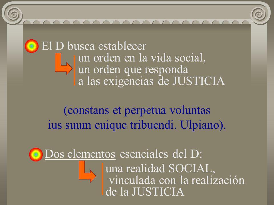 El D busca establecer un orden en la vida social, un orden que responda a las exigencias de JUSTICIA (constans et perpetua voluntas ius suum cuique tr