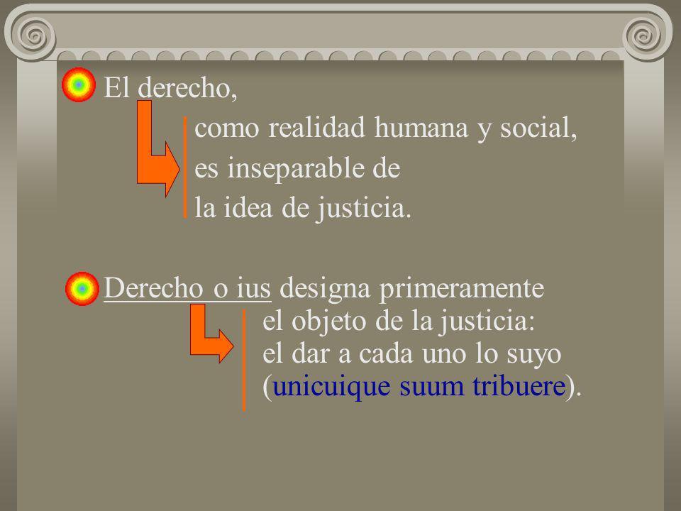 El derecho, como realidad humana y social, es inseparable de la idea de justicia. Derecho o ius designa primeramente el objeto de la justicia: el dar