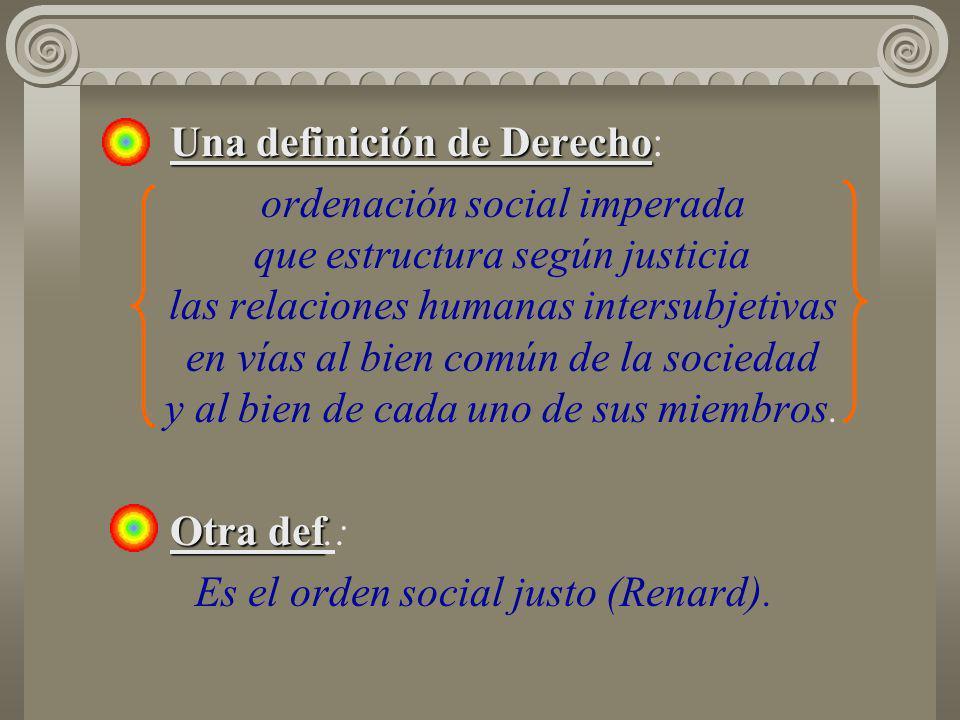 Una definición de Derecho Una definición de Derecho: ordenación social imperada que estructura según justicia las relaciones humanas intersubjetivas e