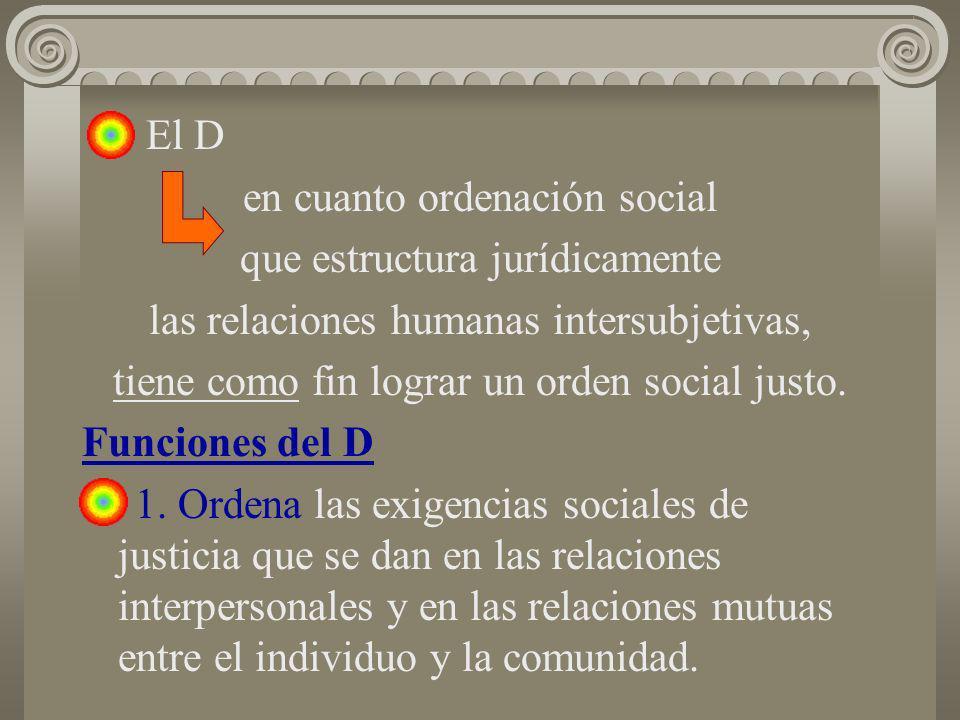 El D en cuanto ordenación social que estructura jurídicamente las relaciones humanas intersubjetivas, tiene como fin lograr un orden social justo. Fun